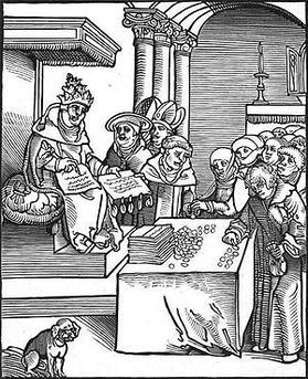 POPE SELLING FORGIVENESS: woodcut of the pope selling indulgences, from Passionary of the Christ and Antichrist (Photo credit: Wikipedia)