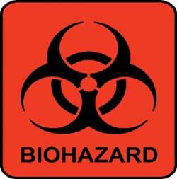 Biohazard label: symbols