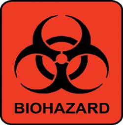 Biohazard label: symbols