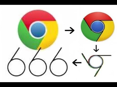 GOOGLE CHROME: In your face logo of 666 is more a declaration of loyalty.  It is not the mark of the beast.