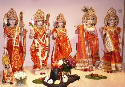 IDOLS: Dressed up as Lingam, Krishna, others