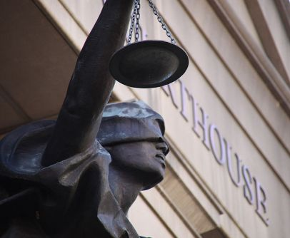 JUSTITIA OR THEMIS: Blind pagan goddess of justice outside Federal Courthouse, Alexandria VA