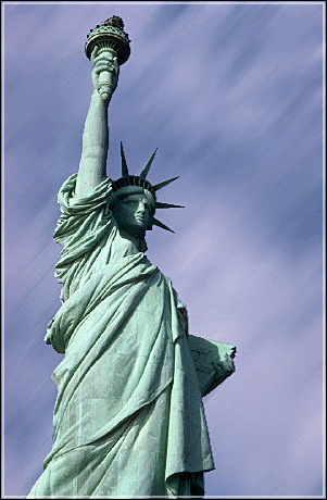 THE PAGAN GODDESS OF LIBERTY GREETS VISITORS TO NEW YORK CITY.