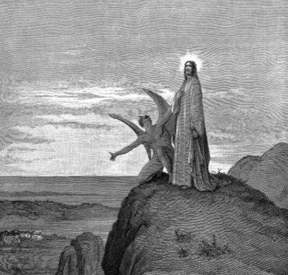 Satan tempting Jesus Christ