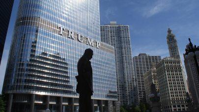 Trump statue outside Trump Tower