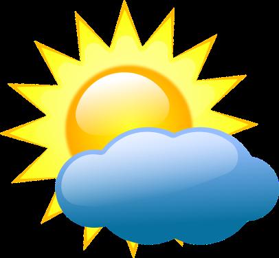 sunny, clouds
