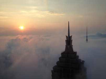 building in clouds